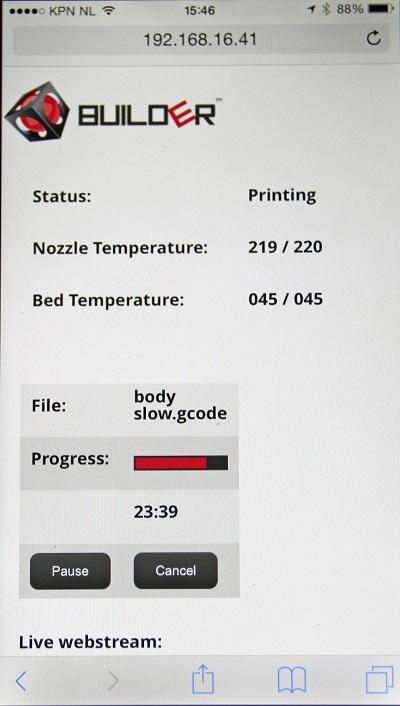 Via de webbrowser van je smartphone is het printproces te volgen en aan te passen.