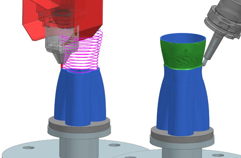 Ook het proces in de hybride machines wordt volledig voorbereid in Siemens NX, zoals het additieve als subtractieve deel.