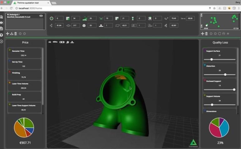 Thrinno Fast Quote: offertegenerator met feedback voor 3D metaalprinten
