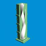 Een CAD-model van de 3D geprinte mal met daarin het gegoten beton (Afbeelding: Bruil).