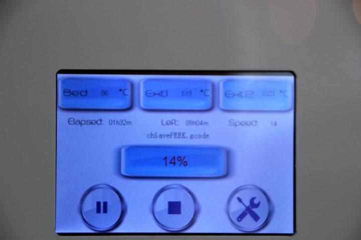 Op het display is de temperatuur van de nozzle goed te zien.