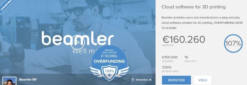 Beamler verhoogt streefdoel crowdfunding campagne