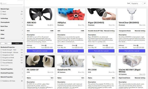 3D Hubs: database voor 3D print materialen