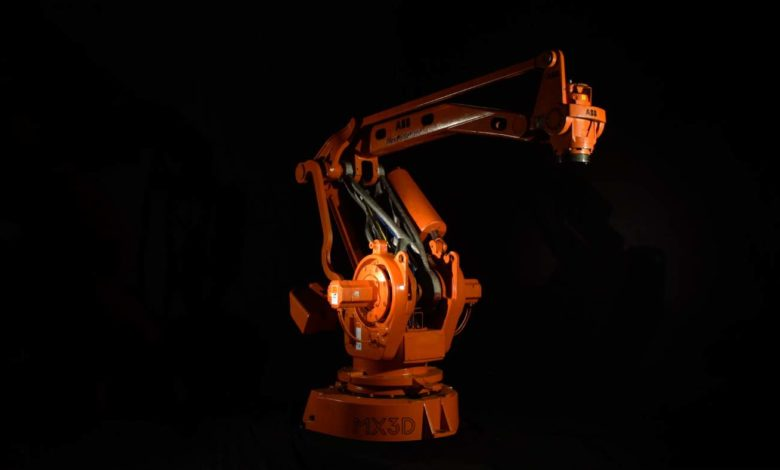Photo of 3D geprinte robotarm MX3D op ABB-robot geplaatst